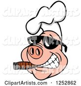 Grinning Pig Smoking a Cigar and Wearing a Chef Hat and Sunglasses