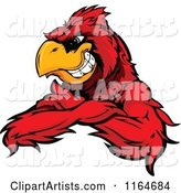 Grinning Red Cardinal Bird with Folded Arms