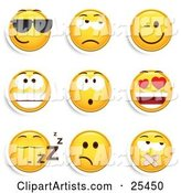 Group of Cool, Grouchy, Winking, Smiling, Surprised, Infatuated, Sleeping and Silenced Yellow Emoticon Faces