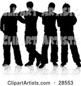 Group of Four Guys Standing Together, Silhouetted over White