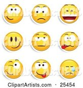 Group of Friendly, Upset, Laughing, Happy, Bored, Goofy, Winking and Crying Yellow Emoticon Faces