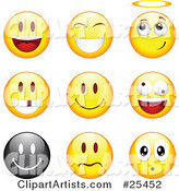 Group of Happy, Angelic, Goofy and Upset Black and Yellow Emoticon Faces