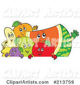Group of Happy Fruit over a Blank Sign