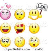 Group of Infatuated, Laughing, Nervous, Hurt and Surprised Pink and Yellow Emoticon Faces
