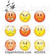 Group of Mad, Angry, Bully, Crying and Bandaged Red and Yellow Emoticon Faces