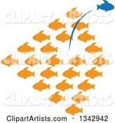 Group of Orange Fish with a Blue One Leaping out in the Opposite Direction