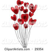 Group of Red Heart Shaped Flowers on Tall Black Stems, over a White Background