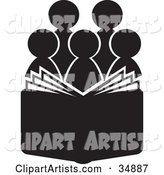 Group of Silhouetted Choir or Church Members Behind an Open Book or Bible