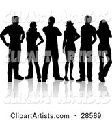 Group of Six Black Silhouetted Adults Standing Together