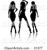 Group of Three Sexy Silhouetted Ladies in Different Poses