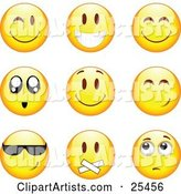 Group of Winking, Smiling, Happy, Awed, Cool, Silenced and Nervous Yellow Emoticon Faces