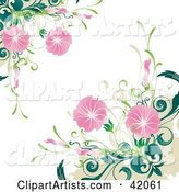 Grunge Floral Background of Blooming Pink Flowers on Green Plants, over White