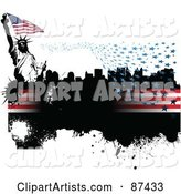 Grungy American Background with Floating Stars, Stripes, a City and Statue of Liberty on White