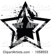Grungy Black and White Star Logo - 1