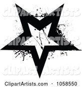 Grungy Black and White Star Logo - 2