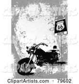 Grungy Gray Route 66 Background with a Motorcycle
