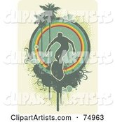 Grungy Green Surfer in Front of a Circle with Palm Trees and Halftone over Beige
