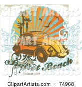 Grungy Retro Vw Beetle Car with Palm Trees, Gulls and Vines with Sample Text
