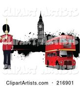 Guard by a Double Decker Bus and Big Ben