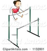 Gymnastics Girl on the Uneven Bars