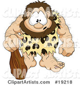 Hairy, Muscular Prehistoric Caveman Wearing a Leopard Print Cloth and Leaning on a Club, with a Cute Facial Expression