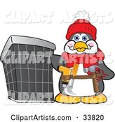 Handy Penguin Mascot Cartoon Character Wearing a Tool Belt and Standing by an Air Conditioning Unit