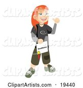 Happy and Proud Skater School Girl with Red Hair, Smiling and Holding Her Certificate of Excellence for Honor Roll