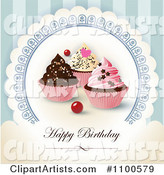 Happy Birthday Greeting with Cupcakes on Blue