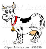 Happy Black and White Dairy Cow Wearing a Bell Around Its Neck