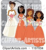 Happy Black Bride Posing with Her Bridesmaids