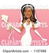 Happy Black Bride with Calla Lilies over Pink