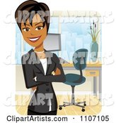 Happy Black Businesswoman with Folded Arms in an Office