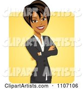 Happy Black Businesswoman with Folded Arms over Yellow