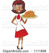Happy Black Retro Woman Carrying a Roasted Thanksgiving or Christmas Turkey on a Platter