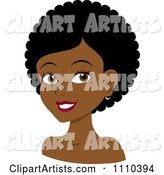 Happy Black Woman with Curly or Afro Hair