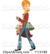 Happy Blond Woman Carrying a Coffee and Shopping Bags