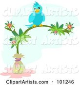 Happy Blue Bird Perched on a Tropical Flowering Tree