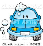 Happy Blue Car with Soap Bubbles