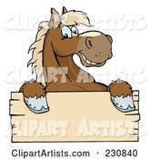 Happy Brown Horse Looking over a Blank Wood Sign