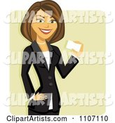 Happy Brunette Businesswoman Holding a Business Card over Green
