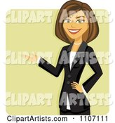 Happy Brunette Businesswoman in a Black Suit Presenting over a Green Square