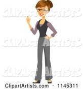 Happy Brunette Businesswoman Waving