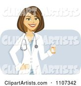 Happy Brunette Female Doctor Holding a Pill Bottle over Purple
