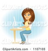 Happy Brunette Woman Blogging at Her Computer Desk over Blue
