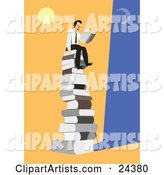 Happy Businessman Seated on Top of a Giant Stack of Books Under the Moon and Sun, Reading a Novel