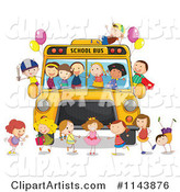 Happy Children Having a Party on a School Bus
