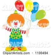 Happy Clown Waving and Holding Party Balloons