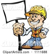 Happy Construction Worker Man Holding a Sign