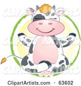 Happy Dairy Cow Meditating in a Yellow and Green Circle