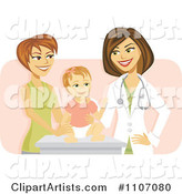 Happy Female Pediatric Doctor with a Baby Girl and Mom over Pink